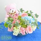 小熊守護造型盆花