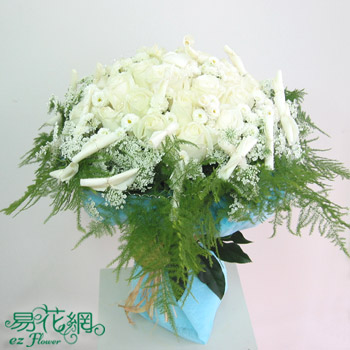 純翠白玫瑰花束